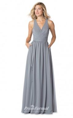 1605UK2064 A Line V Neck Silver Chiffon High/Covered Bridesmaid Dresses