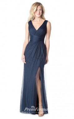 1610UK2069 Mermaid/Trumpet V Neck Navy Blue Tulle Mid Back Bridesmaid Dresses