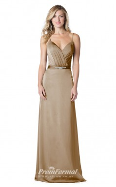 1611UK2070 A Line V Neck Dark Khaki Stretch Satin Mid Back Bridesmaid Dresses