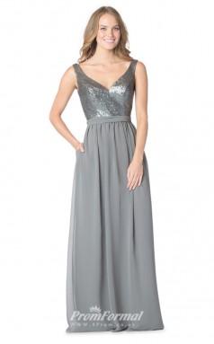 1613UK2072 A Line V Neck Silver Sequined Chiffon Zipper Bridesmaid Dresses