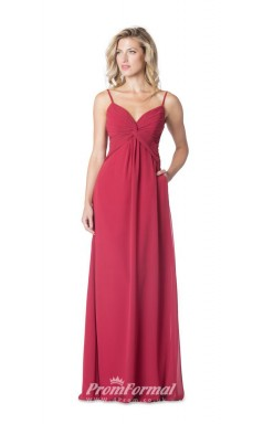 1619UK2078 A Line V Neck Red Chiffon Open Back Bridesmaid Dresses