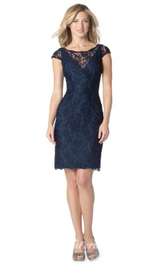 1621UK2079 Sheath/Column Short/Cap Sleeve Scalloped-Edge Navy Blue Lace Zipper Bridesmaid Dresses
