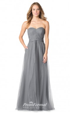 1626UK2084 A Line Strapless Silver Tulle Mid Back Bridesmaid Dresses