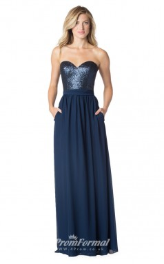1630UK2088 A Line Strapless Navy Blue Sequined Chiffon Mid Back Bridesmaid Dresses
