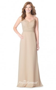 1632UK2090 A Line V Neck Champange Chiffon Open Back Bridesmaid Dresses