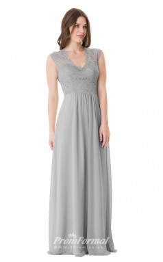 1650UK2091 A Line Short/Cap Sleeve Scalloped-Edge Silver Lace Chiffon Open Back Bridesmaid Dresses