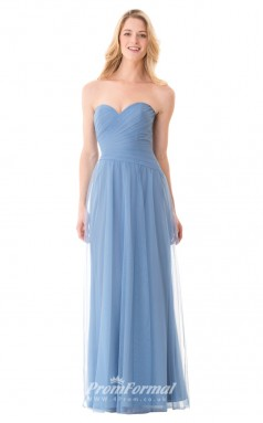 1657UK2098 A Line Strapless Lavender Tulle Mid Back Bridesmaid Dresses