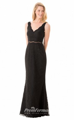 1659UK2100 Mermaid/Trumpet Scalloped-Edge Black Lace Mid Back Bridesmaid Dresses