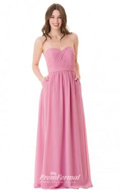 1660UK2101 A Line Strapless Dark Pink Chiffon Open Back Bridesmaid Dresses