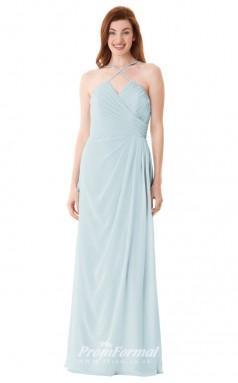 1663UK2104 A Line Halter Sky Blue Chiffon Mid Back Bridesmaid Dresses