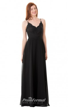 1664UK2105 A Line Scalloped-Edge Black Lace Chiffon Mid Back Bridesmaid Dresses