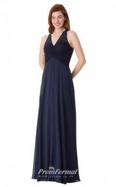 1669UK2110 A Line V Neck Navy Blue Lace Chiffon High/Covered Bridesmaid Dresses
