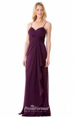1671UK2112 Sheath/Column V Neck Grape Chiffon Zipper Bridesmaid Dresses