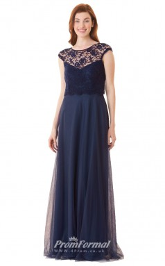 1676UK2117 A Line Short/Cap Sleeve Scoop Navy Blue Lace Tulle Open Back Bridesmaid Dresses