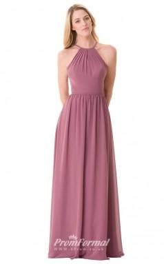 1679UK2120 A Line Halter Purple Chiffon Open Back Bridesmaid Dresses