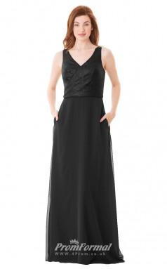 1680UK2121 A Line V Neck Black Lace Chiffon Zipper Bridesmaid Dresses