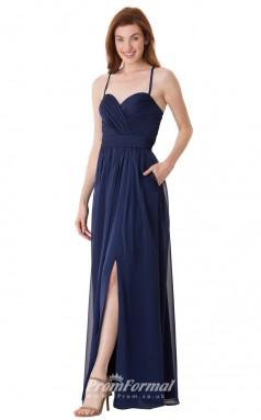 1682UK2122 A Line Sweetheart Navy Blue Chiffon Open Back Bridesmaid Dresses