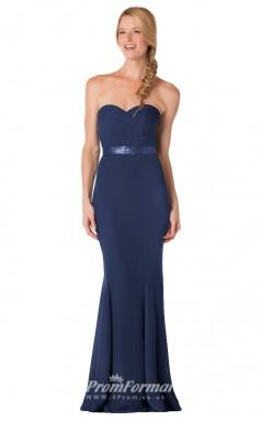 1709UK2132 Mermaid/Trumpet Strapless Navy Blue Chiffon Zipper Bridesmaid Dresses