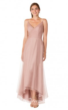 1714UK2137 A Line V Neck Nude Pink Tulle Mid Back Bridesmaid Dresses