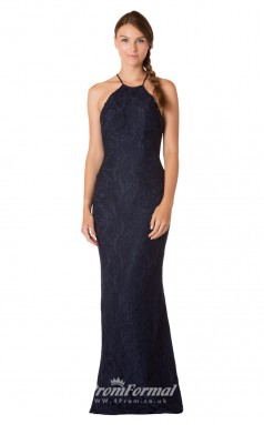 1716UK2139 Mermaid/Trumpet Halter Navy Blue Lace Low Back Bridesmaid Dresses