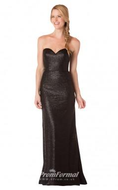 1718UK2141 Mermaid/Trumpet Strapless Black Sequined Mid Back Bridesmaid Dresses