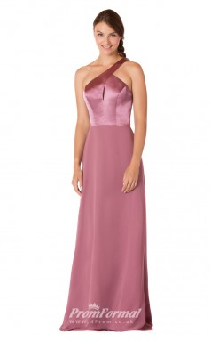 1722UK2144 Sheath/Column One Shoulder Purple Stretch Satin Chiffon Mid Back Bridesmaid Dresses