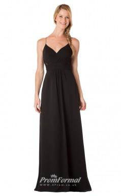 1724UK2146 A Line V Neck Black Chiffon Open Back Bridesmaid Dresses