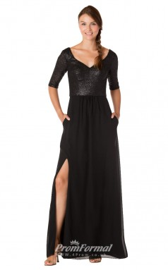 1725UK2147 A Line Half Sleeve V Neck Black Sequined Chiffon Zipper Bridesmaid Dresses