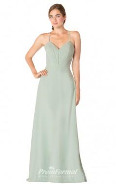 1726UK2148 A Line V Neck Light Cyan Chiffon Lace Up Bridesmaid Dresses