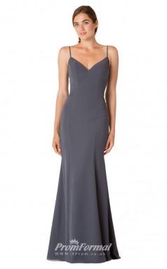 1728UK2150 Mermaid/Trumpet V Neck Dark Gray Chiffon Mid Back Bridesmaid Dresses