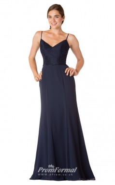 1731UK2153 Mermaid/Trumpet V Neck Navy Blue Lace Chiffon Mid Back Bridesmaid Dresses