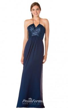 1734UK2156 Mermaid/Trumpet Halter Navy Blue Sequined Chiffon Mid Back Bridesmaid Dresses