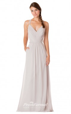 1735UK2157 A Line Straps White Chiffon Strappy Bridesmaid Dresses