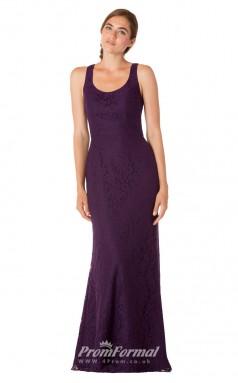 1736UK2158 Mermaid/Trumpet Square Grape Lace High/Covered Bridesmaid Dresses