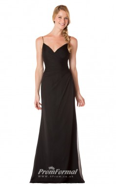 1737UK2159 Mermaid/Trumpet Mid Back V Neck Black Chiffon Mid Back Bridesmaid Dresses