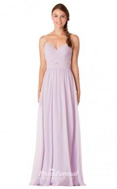 1738UK2160 A Line V Neck Lilac Chiffon Mid Back Bridesmaid Dresses