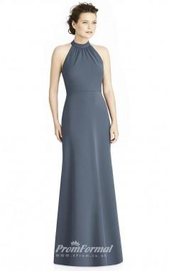 BDUK2163 Mermaid/Trumpet Steel Blue Satin Chiffon Halter Floor Length Bridesmaid Dress