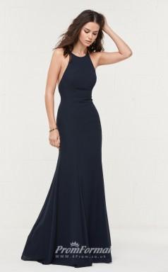 BDUK2164 Mermaid/Trumpet Navy Blue Chiffon Halter Floor Length Bridesmaid Dress
