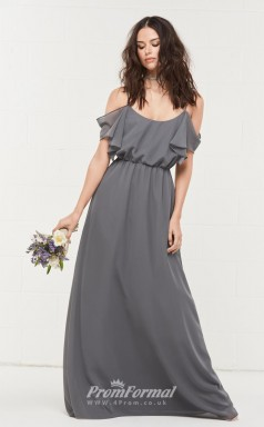 BDUK2165 A Line Dim Gray Chiffon Off the Shoulder Short Sleeve Floor Length Bridesmaid Dress