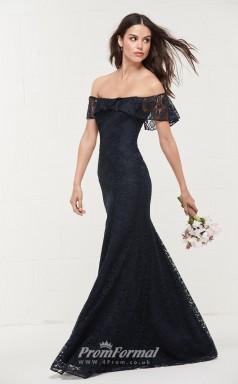 BDUK2170 Mermaid/Trumpet Navy Blue Lace Off the Shoulder Short Sleeve Floor Length Bridesmaid Dress
