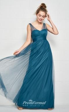 BDUK2173 A Line Steel Blue Tulle V Neck Floor Length Bridesmaid Dress