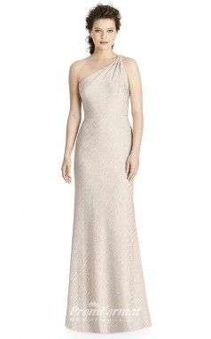 BDUK2174 Sheath Beige Lace One Shoulder Floor Length Bridesmaid Dress