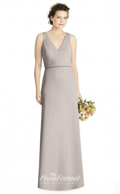 BDUK2177 Sheath Gray Satin Chiffon V Neck Floor Length Bridesmaid Dress