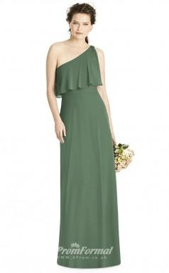 BDUK2178 Sheath Green Chiffon One Shoulder Floor Length Bridesmaid Dress