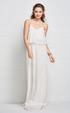 BDUK2181 A Line White Chiffon Straps Floor Length Bridesmaid Dress