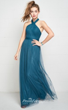 BDUK2182 A Line Turquiose Tulle Halter Ankle Length Bridesmaid Dress