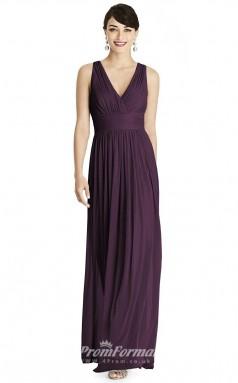 BDUK2184 A Line Grape Chiffon V Neck Ankle Length Bridesmaid Dress