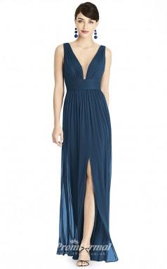 BDUK2185 A Line Dark Blue Chiffon V Neck Ankle Length Bridesmaid Dress