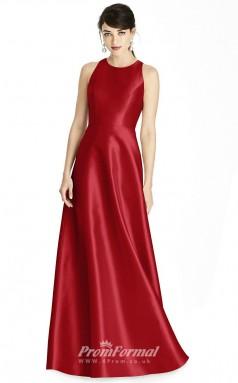 BDUK2186 A Line Light Burgundy Stretch Satin Jewel Long Bridesmaid Dress