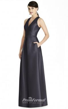 BDUK2187 A Line Dark Navy Satin V Neck Long Bridesmaid Dress